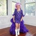 Nueva de Dos Piezas Niñas Pageant vestidos de Media Manga Vestidos de Niña de 2017 Cuentas Escote Kids Formal Vestido de Fiesta