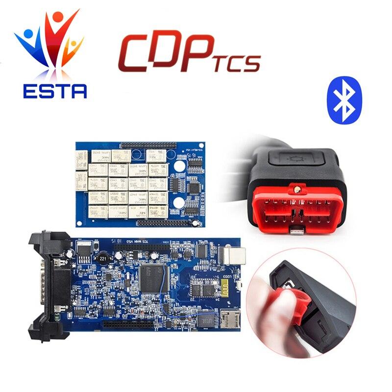 Цена за Новый vci tcs CDP pro tcs cdp плюс Bluetooth 2014. R2/2015.03 с keygen OBD2 сканер автомобили грузовики диагностический инструмент бесплатная доставка