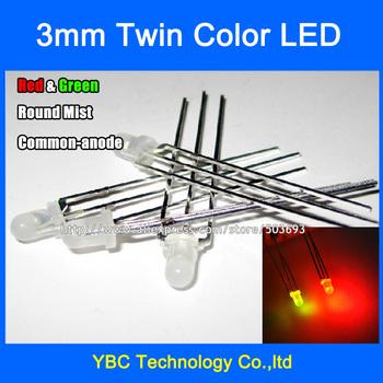 500 sztuk partia 3mm czerwony zielony LED wspólna anoda 3Pin F3 okrągły mgły diody tanie i dobre opinie Nowy ZZYADE Bezpo¶rednio hole China