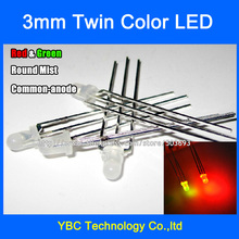 500pcs/lot 3mm Red Green LED Common Anode 3Pin F3 Round  Mist Diodes