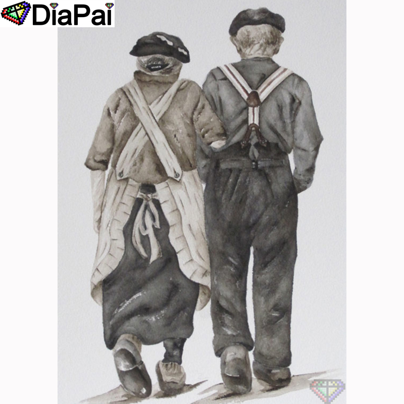 DIAPAI 5D DIY Diamond Painting 100 Full Square Round Drill quot Elderly couple quot Diamond Embroidery Cross Stitch 3D Decor A21582 in Diamond Painting Cross Stitch from Home amp Garden