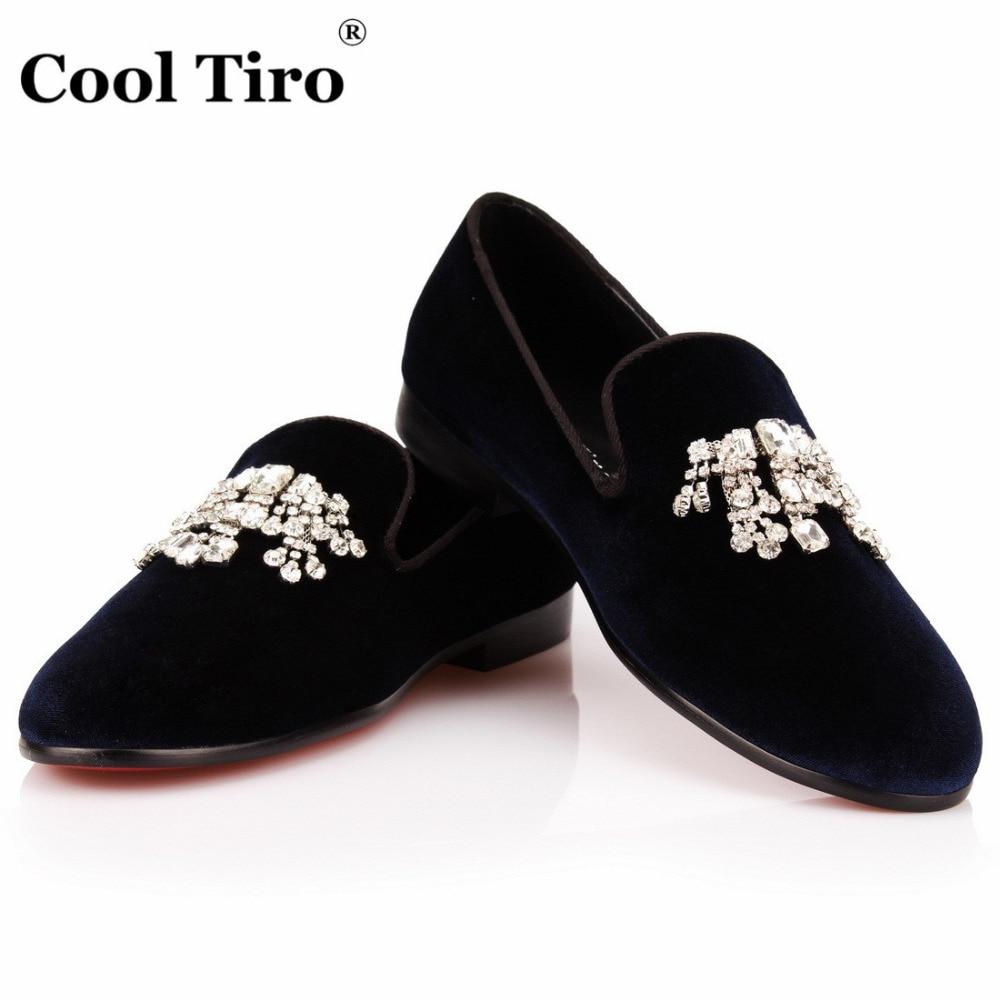 d08f0dc6767 COOL TIRO Navy blue Velvet Loafers Men Crystal Tassel Smoking Slippers Slip  on flat Men s Dress Shoes Party Wedding Casual Shoes