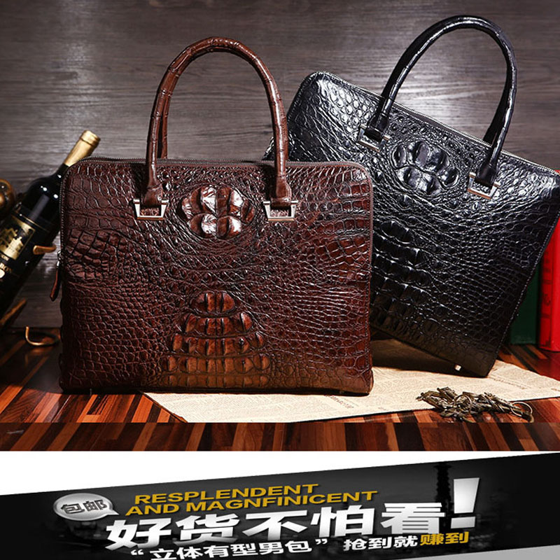 Bag Briefcase Men Crocodile Fashion Hand-Messenger Luxury High-End American European