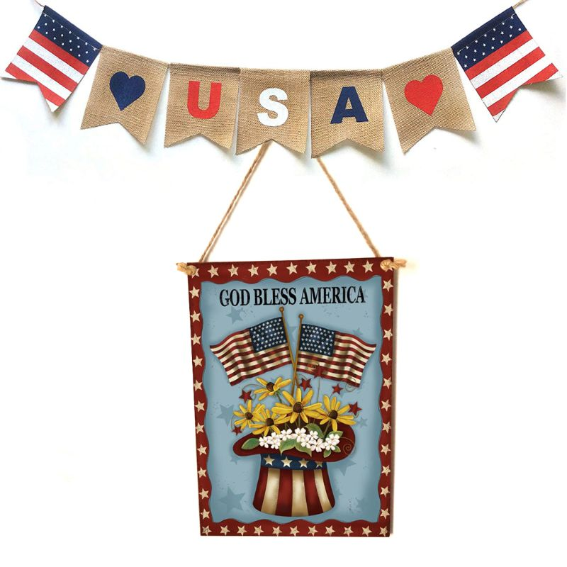Rustic Wooden Happy God Bless America Flower Sign Plaque Independence Day Room Home Decoration Collection Gift-in Plaques & Signs from Home & Garden