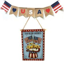 Rustic Wooden Happy God Bless America Flower Sign Plaque Independence Day Room Home Decoration Collection Gift