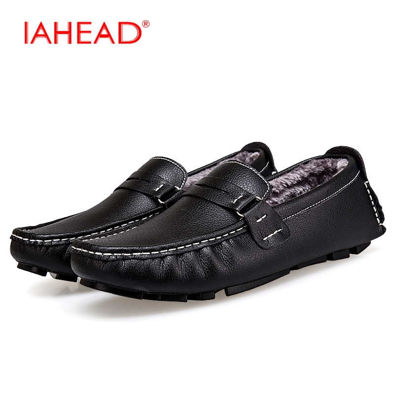 IAHEAD Men Shoes Flats New Casual Shoes Men Winter Warm Fluff With Shoes Plus Size 38-47 Slip-On Fashion Loafers MH590