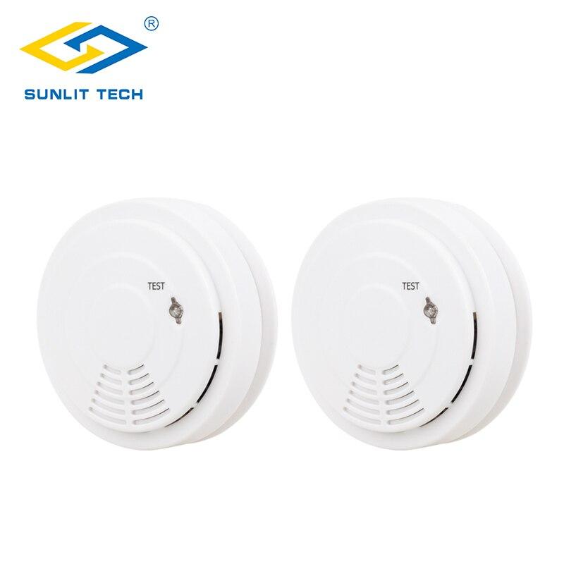 2pcs 433MHz Wireless Smoke Detector Fire Alarm Monitor alone Sensor For Home Burglar Alarm System detector de humo