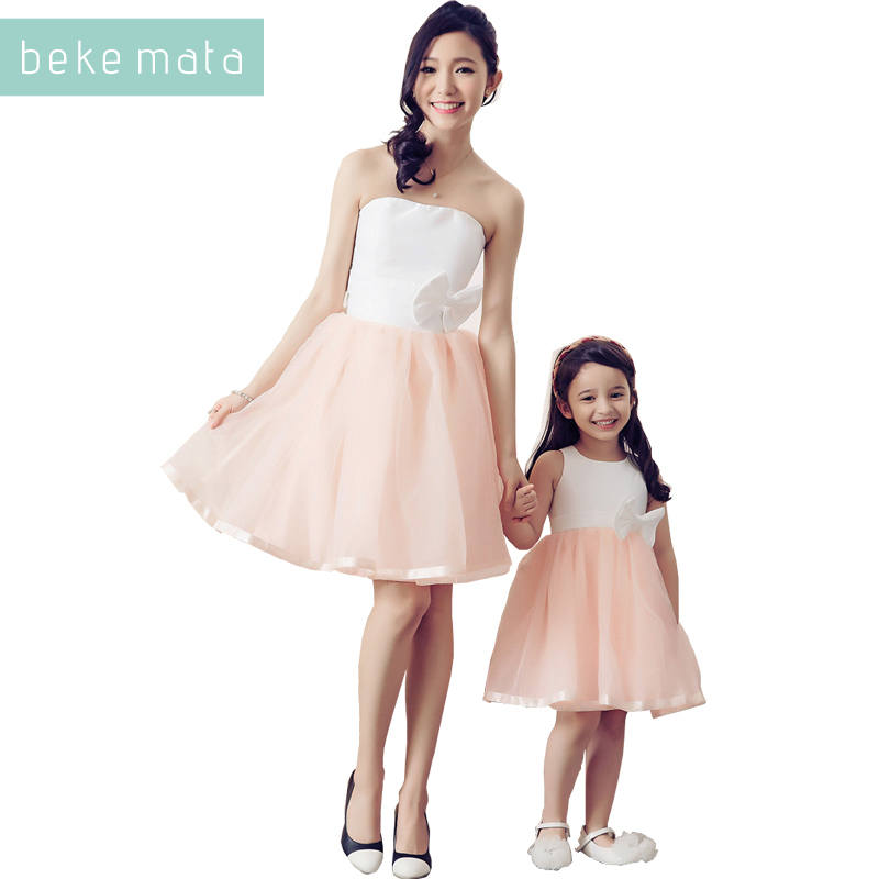 BEKE MATA Mother Daughter Evening Dress 2018 Summer Sleeveless Matching Girl And Mom Clothes Bow Waistband Family Look Clothing 2017 summer children clothing mother and daughter clothes xl xxl lady women infant kids mom girls family matching casual pajamas