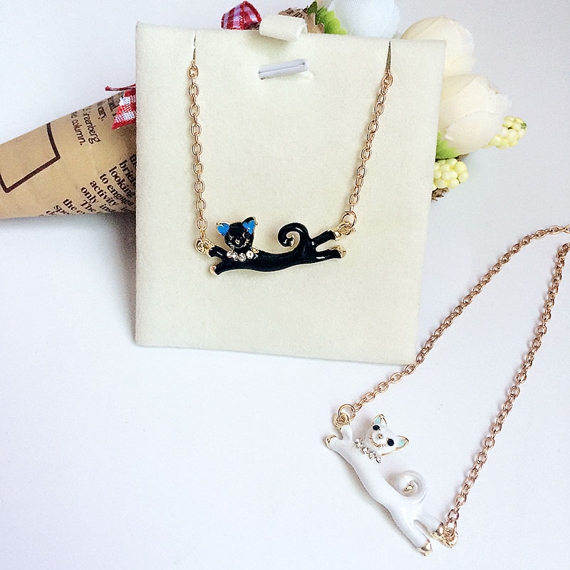 d57b26b434bf9 Fashion jewellery cat rhinestone necklace cats Charms Necklaces gift Women  girl pendants for friends Wholesales chains pendant