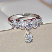 Luxury White Zircon Engagement Ring Vintage Wedding Rings For Women Fashion Jewelry 2019 New Arrival