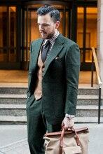 Mais recentes Modelos Casaco Calça Homens Terno de Tweed Verde Slim Fit Blazer Estilo Personalizado Ternos Terno Do Noivo smoking Magro 3 Peça Masculino