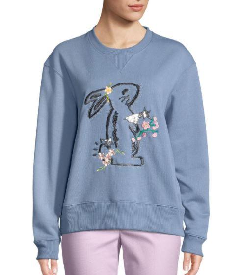 Blu Streetwear Stravaganti Paillettes Con Animale Florals E Donne Molla Dolce Delle Felpa Ss18 Ricamato Motivo 1tznIqXHw