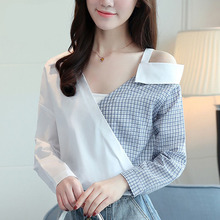 c33d92011d5c2f omonsim One Shoulder Shirts Women 2018 Fall Style Plaid Patchwork Long  Sleeve