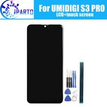 Tela lcd + touchscreen para troca, painel de vidro digitalizador original e testado para umidigi, 6.3 polegadas s3 pro