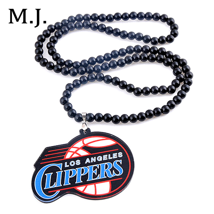 Hip Hop Los Angels Clippers Necklace Men Hippie Long Beads Chain Maxi Pendant Necklace Collier Male Jewelry