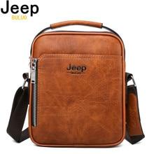 JEEP BULUO Men Messenger Bags High Quality Split Leather Lar