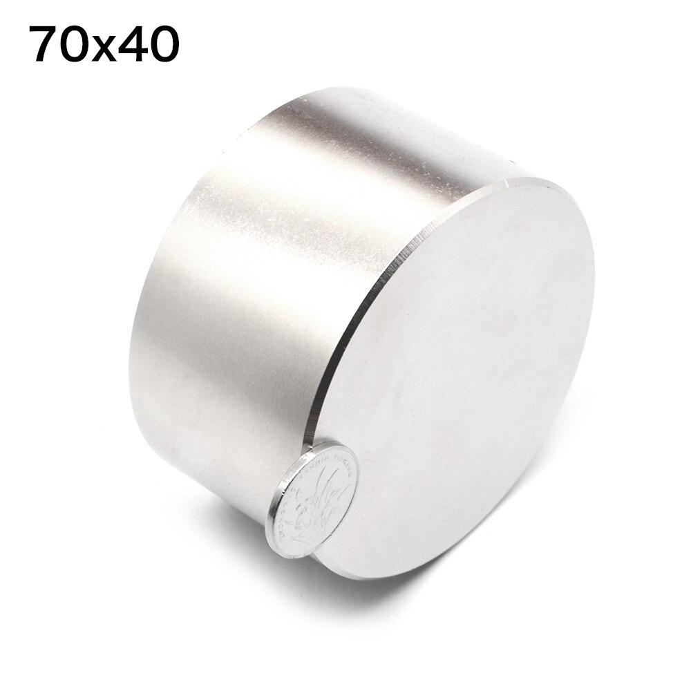 1 pcs N52 Néodyme aimant 70x40mm gallium métal chaud super fort aimants ronds 70*40 puissant aimants permanents