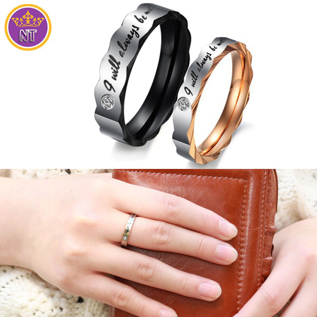 nt fashion engraved alphabet valentine day jewelry gifts titanium steel mens jewelry wedding rings for couples