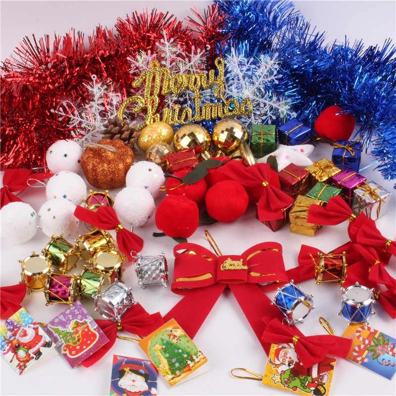 christmas decorations kits christmas tree decorations christmas ball five pointed stars red bowknot decor set memang store