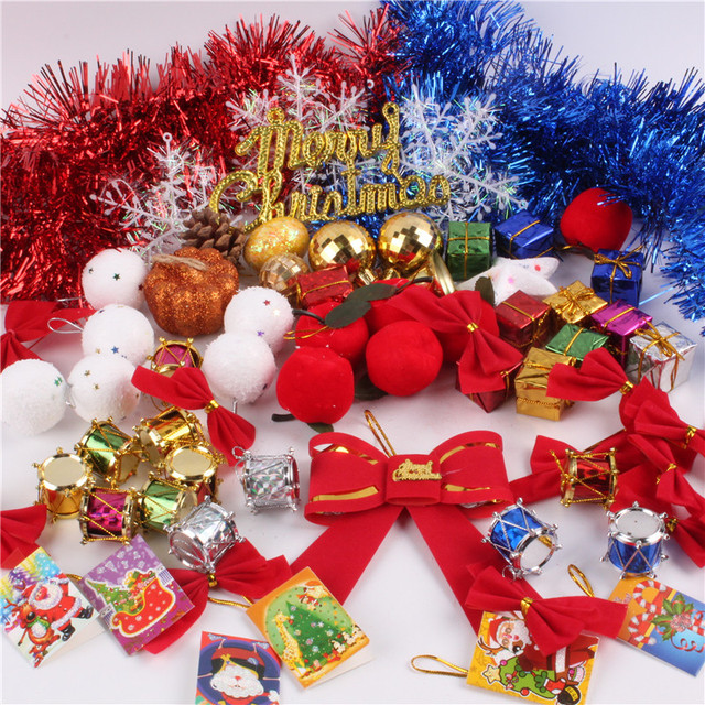 christmas decorations kits christmas tree decorations christmas ball five pointed stars red bowknot