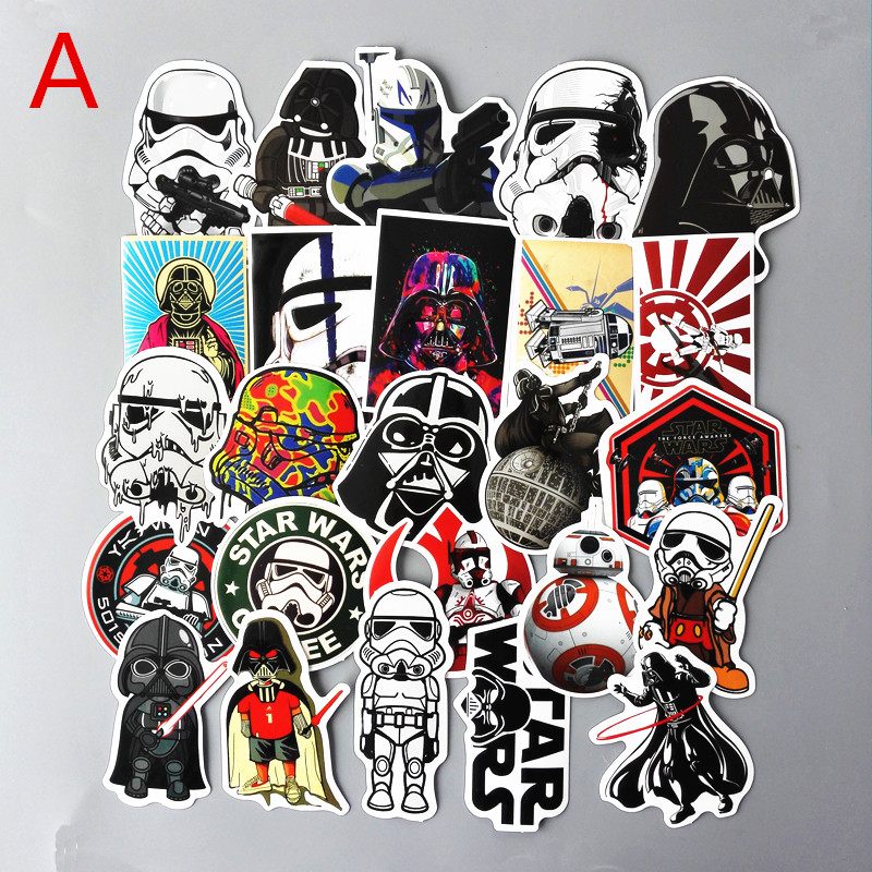 TD ZW 25 Stks / set Star wars Waterdichte Grappige Stickers Voor Bagage Laptop Bike Motorfiets Telefoon Auto Case Decal Sticker