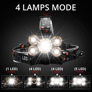 Image 4 - Güçlü LED far far 5LED T6 kafa lambası 8000 lümen el feneri Torch kafa ışık 18650 pil için en iyi kamp, balıkçılık