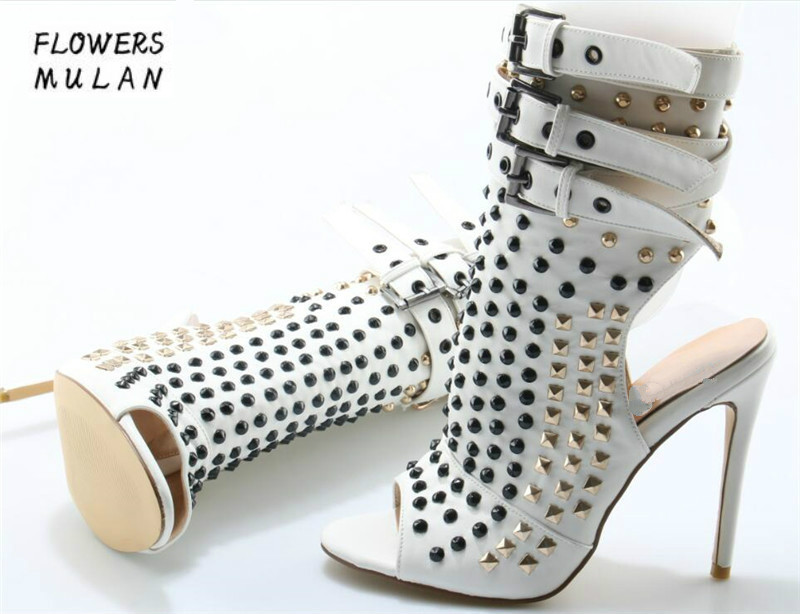 Women Sexy Fashion Open Toe Rivet High Heel Cut-out Ankle Boots Ankle Buckle Strap Spike Gladiator Boots Dress Shoes Do Dropship