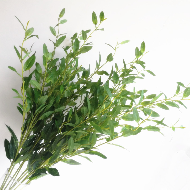 10pcs Olive Tree Branch Stem Artificial Green/Red Leaf Stems Fake Greenery Plant Foliage