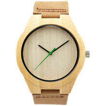 Reloj hombres relojes causales cuero genuino de bambú de madera de bambú de madera relojes de cuarzo para hombre los mejores regalos