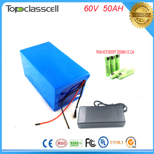 Customized e scooter battery 60v NCR18650PF cell electric bike battery 60v 50ah ebike li-ion battery pack with Charger and bms