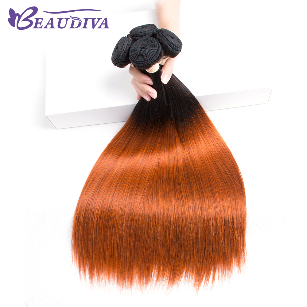 Beaudiva Hair-Bundles Human-Hair-One-Piece Pre-Colored Weave Straight T1B/350 Remy Sale