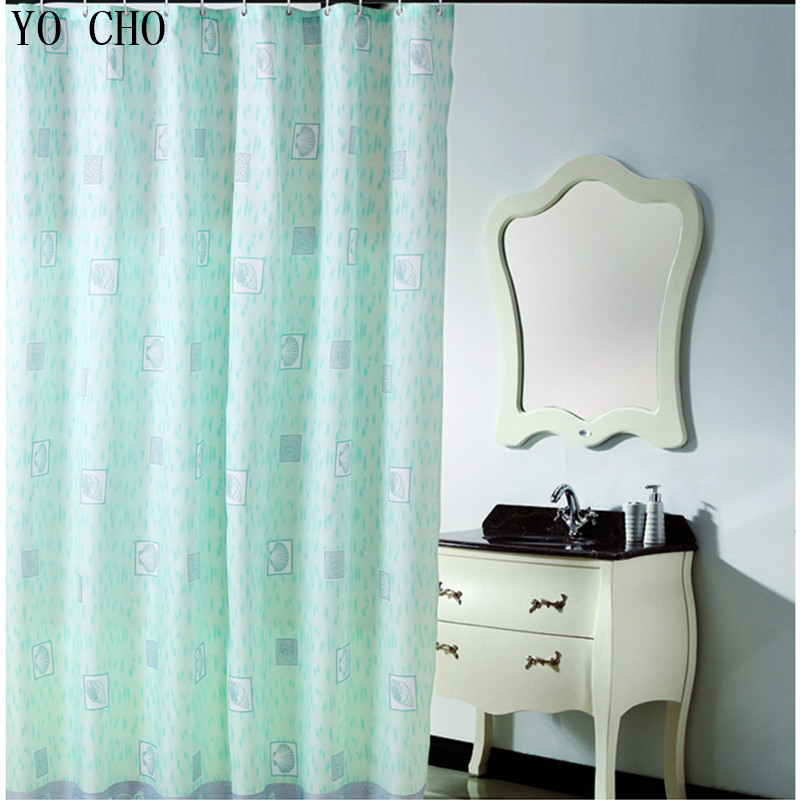 Polyester Terylene Gren Sea Life Seashell Waterproof Shower Curtain Thicken  Bath Curtains Bathroom Curtain With Hooks