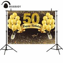 Allenjoy photography 50th birthday backdrops golden balloon Ribbon Champagne luxury party photo background photocall photophone allenjoy photography backdrops golden black abstract background gorgeous for a photo shoot fund background vinyl