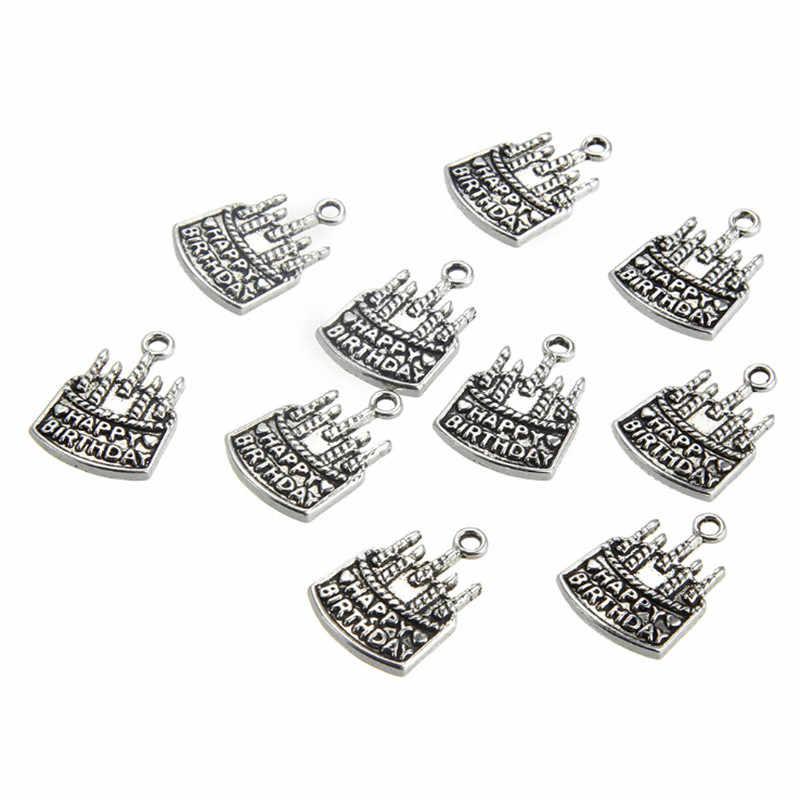 10 Pcs/lot Baru Kreatif Antik Perak Kue Ulang Tahun Pesona Konektor untuk Diy Kalung Liontin Perhiasan Membuat Aksesoris