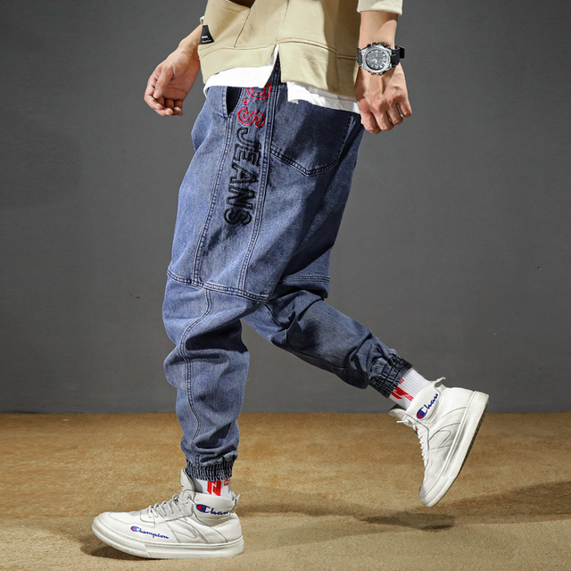 Men's Jeans Plus Size Stretchy Loose Tapered Harem Jeans Cotton Breathable Denim Jeans Baggy Jogger Casual Trousers 42 Jeans 2