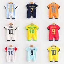 2018 bebé ropa de bebé conjunto de manga corta mameluco para niños deportes  trajes camisetas de fútbol uniforme de fútbol ropa d. 02eb9299cb787