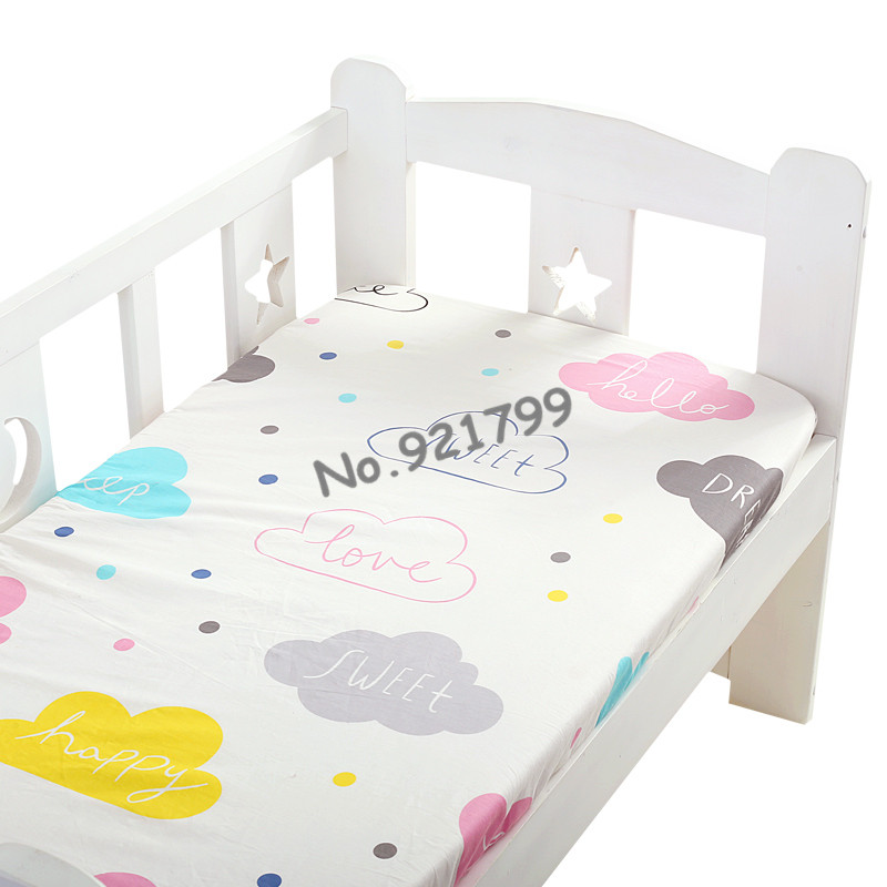 100%Cotton Cartoon Baby Crib Fitted Sheet Soft Baby Bed Mattress Cover Protector  Newborn Bedding Sheet For Cot Size(120*65cm)