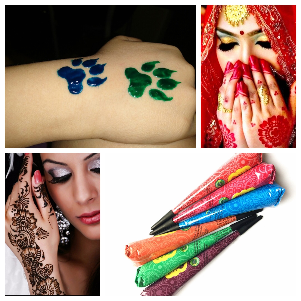 Colored Henna Tattoo: 9 Color Choose Indian Henna Tattoo Paste Women Makeup
