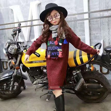 2016 children qiu dong outfit new girl sweater knit girl long tassels design in the sweater