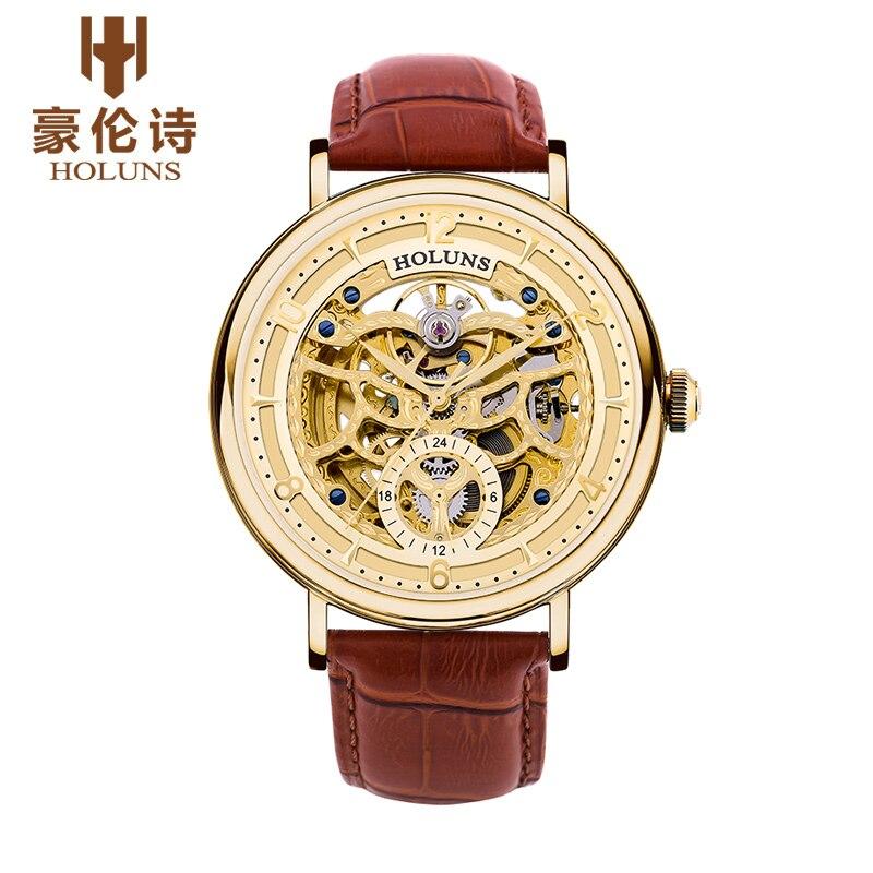 원래 새로운 holuns 남자 자동 기계 사파이어 중공 시계 캐주얼 방수 망 손목 시계 relojes relogio masculino-에서기계식 시계부터 시계 의  그룹 3