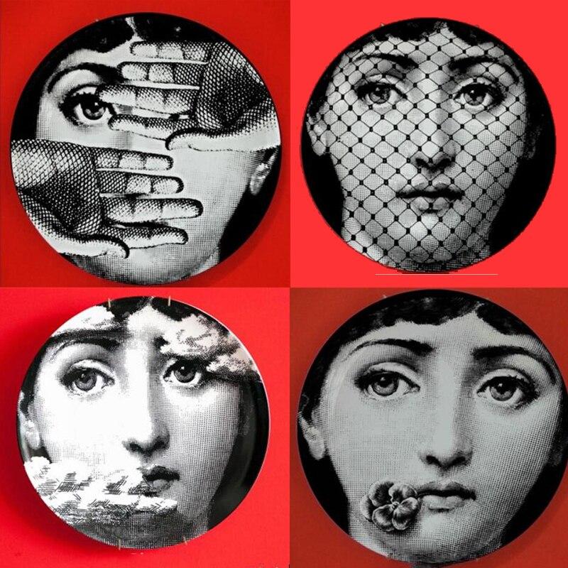 2018 Creative Design Pattern Italy Milan Rosenthal Piero Fornasetti Plates Ceramics Wall Hanging Decorative Plates Euro Stlye