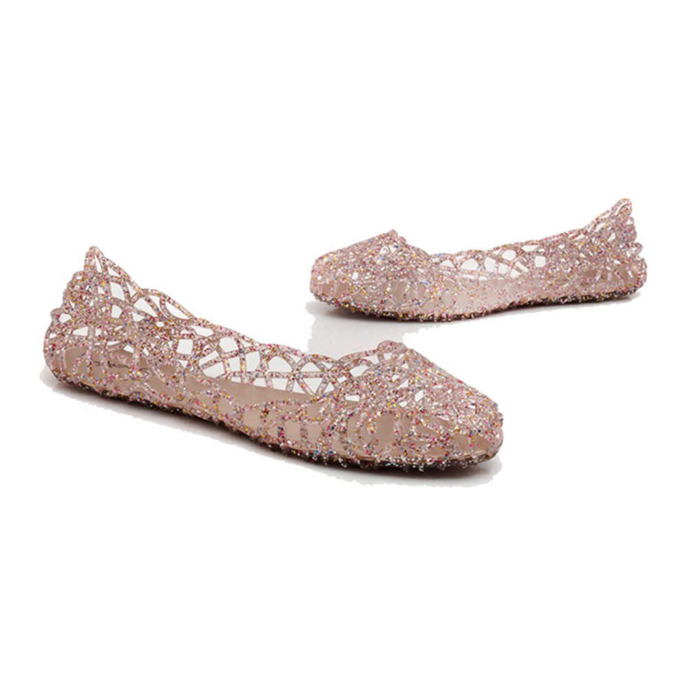 537007447fd2 ... Women Flats Hollow Out Transparent Jelly Shoes Ballet Flats Casual  shoes slip on Loafers summer beach ...