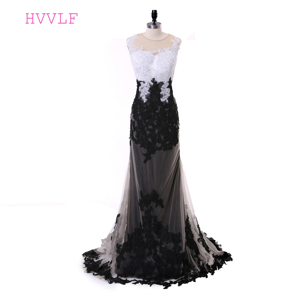 Black White Evening Dresses 2018 Mermaid Cap Sleeves Appliques Lace ...