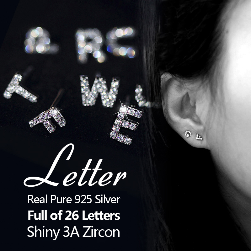 Luxury Brand Top Sale New 26 Letters Earrings Real 925 Sterling Silver Inlay AAA Cubic Zircon Stud Earrings For Women
