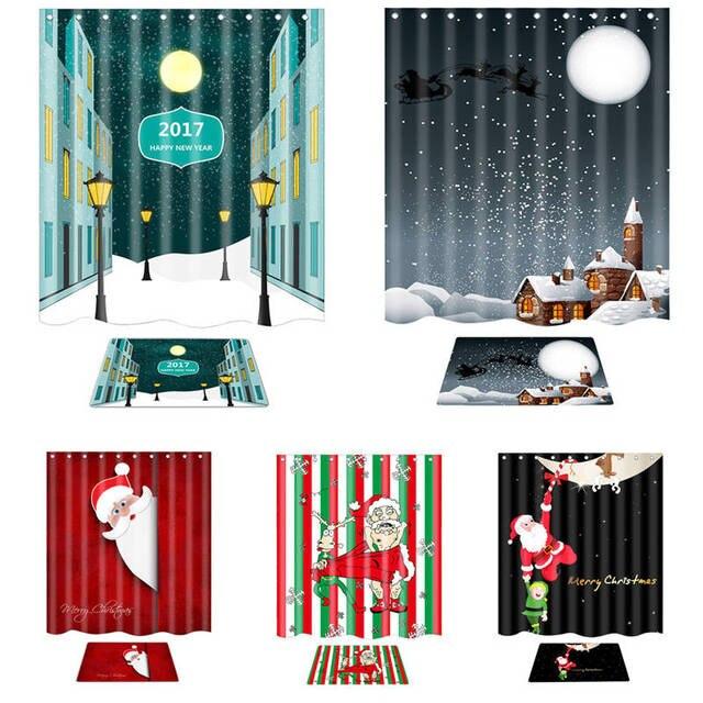 Santa Claus Shower Curtain Merry Christmas Pattern Waterproof