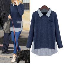 2017 Spring Women T Shirt kimono vintage fake two Knitting Splicing stripes tops plus size 3XL blusas tee shirt femme ropa mujer