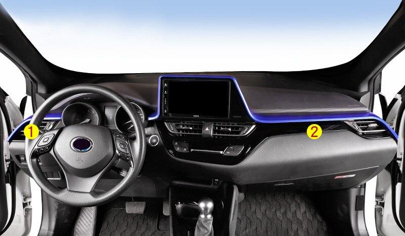 Стильный интерьер автомобиля синий пульт для приборной панели Декоративная полоса рамка накладка 2 шт левый руль для Toyota C HR CHR 2016 2018