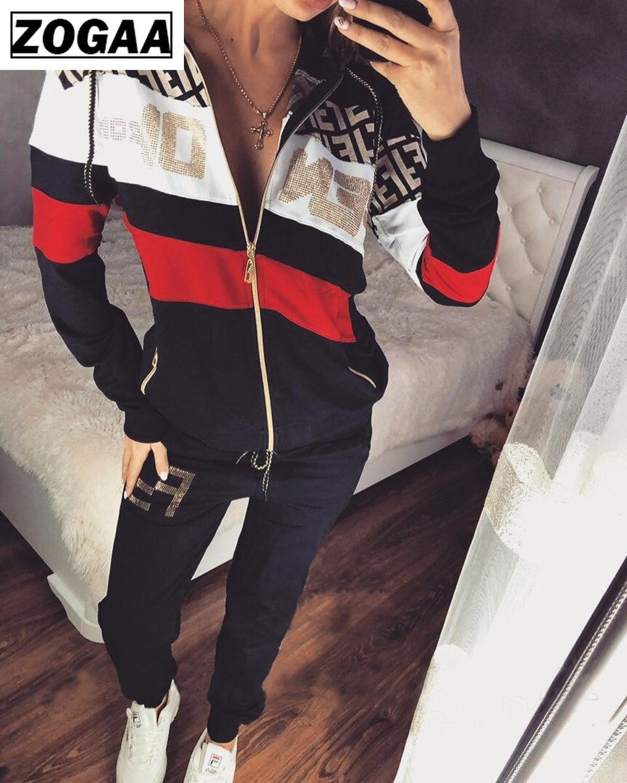 Spring Fashion 2 Piece Set Women Sport Wear Tracksuit Girls Letter Pant Suit Outdoor Casual Sweatsuit Female Outfits Streetwear
