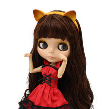1/6 factory blyth doll toy brown hair with bangs tan skin joint body cat headband red dress cat shoes combination 1/6 30cm(China)