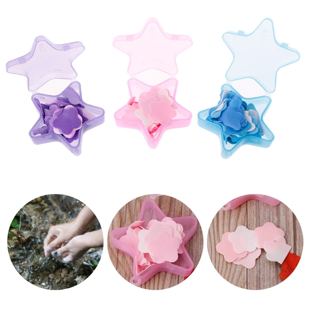 1 Box Stars Shape Convenient Washing Cleaning Hand Paper Soap Anti-Bacterial Portable Gift Random color New 1
